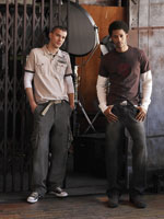 Two male models in casual fall clothing.