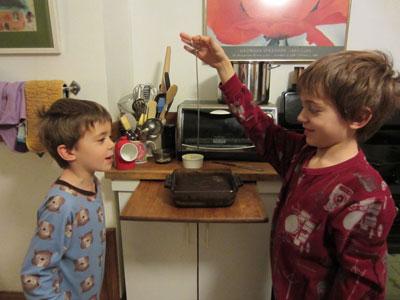 kids making cake