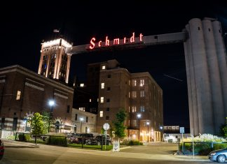 Schmidt Brewery in St. Paul at night