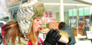 Kissing an eelpout at the International Eelpout Festival