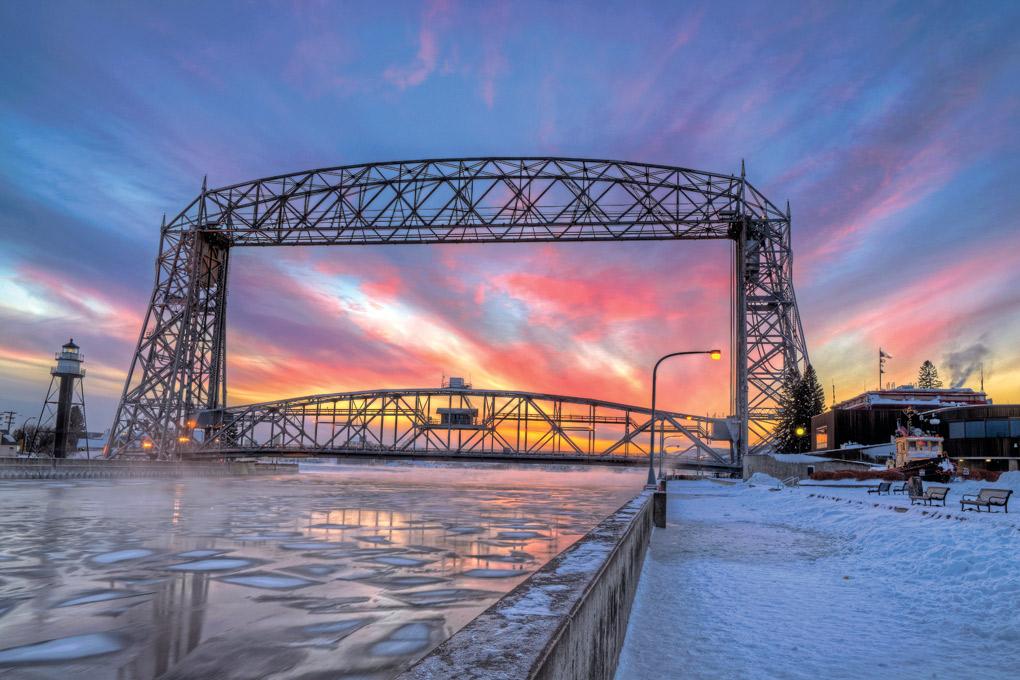 Aerial bridge in winter