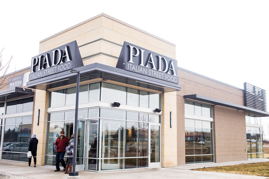 The storefront at Piada Italian Street Food in Woodbury.