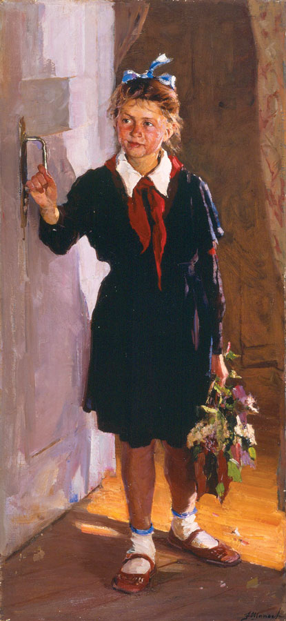 """Fedor V. Shapaev's """"Young Pioneer at the Door,"""" 1955 oil on canvas."""