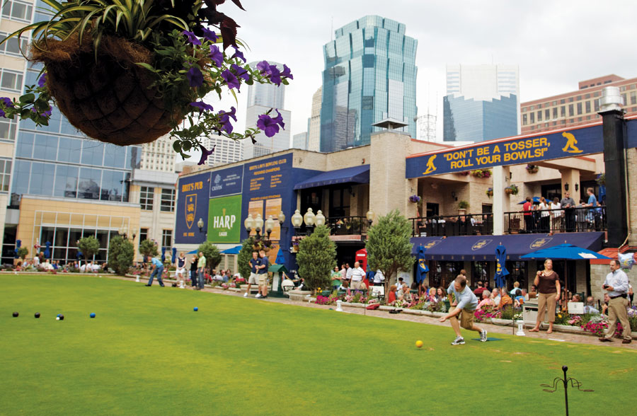 The lawn-bowling green on the rooftop at Brit's in downtown Minneapolis.