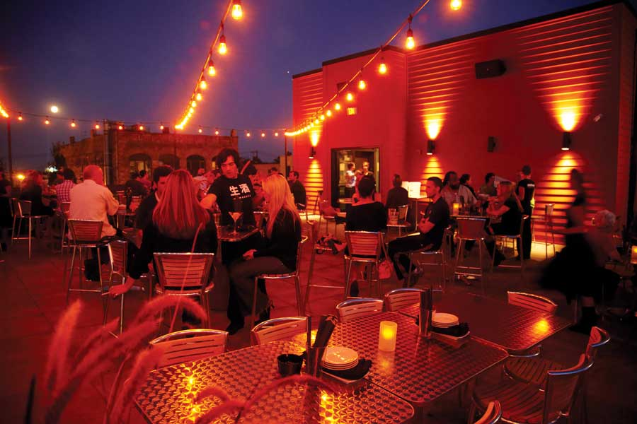 The rooftop at night at Moto-I in downtown Minneapolis.