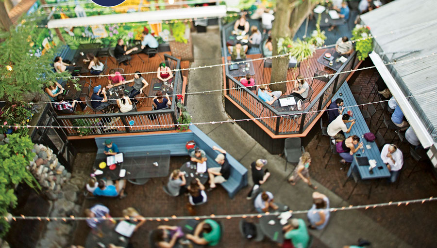 A top-down view of the patio at Sweeney's.