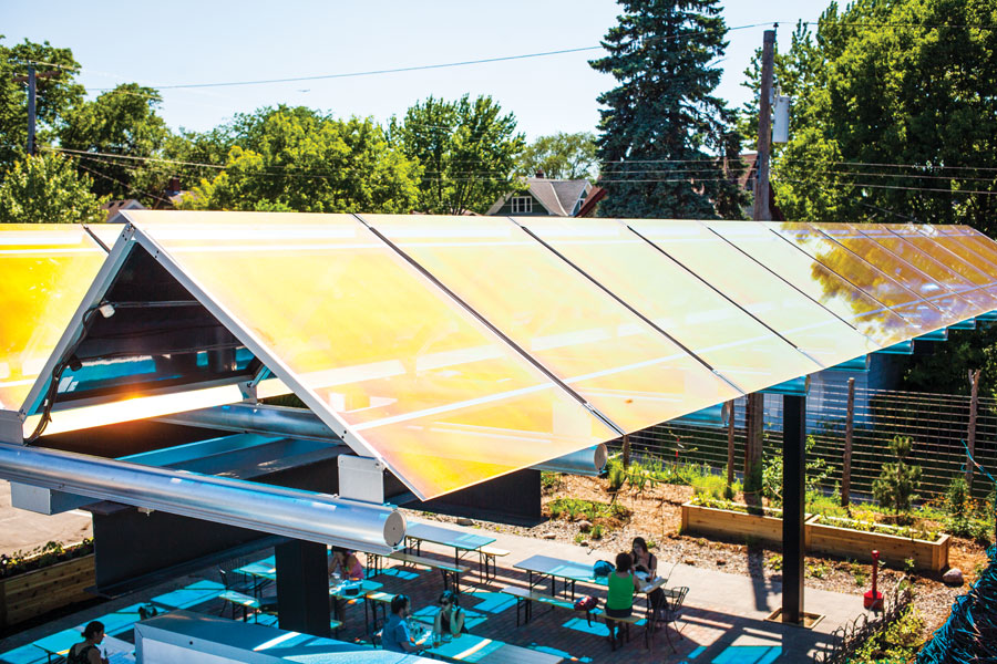 Solar panels cover the rooftop over the patio at Tiny Diner in the Powderhorn neighborhood in Minneapolis.