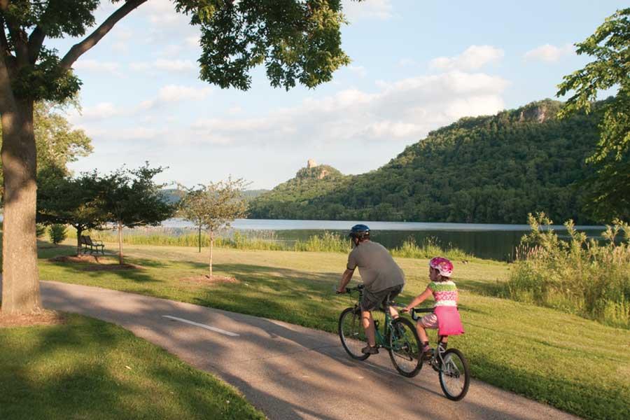 Biking around Lake Winona.