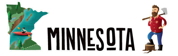 """An illustration of the word """"Minnesota"""" along with the state."""