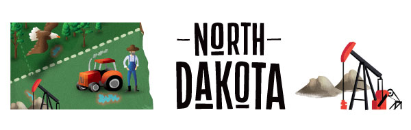 An illustration of North Dakota featuring an oil driller and tractor.