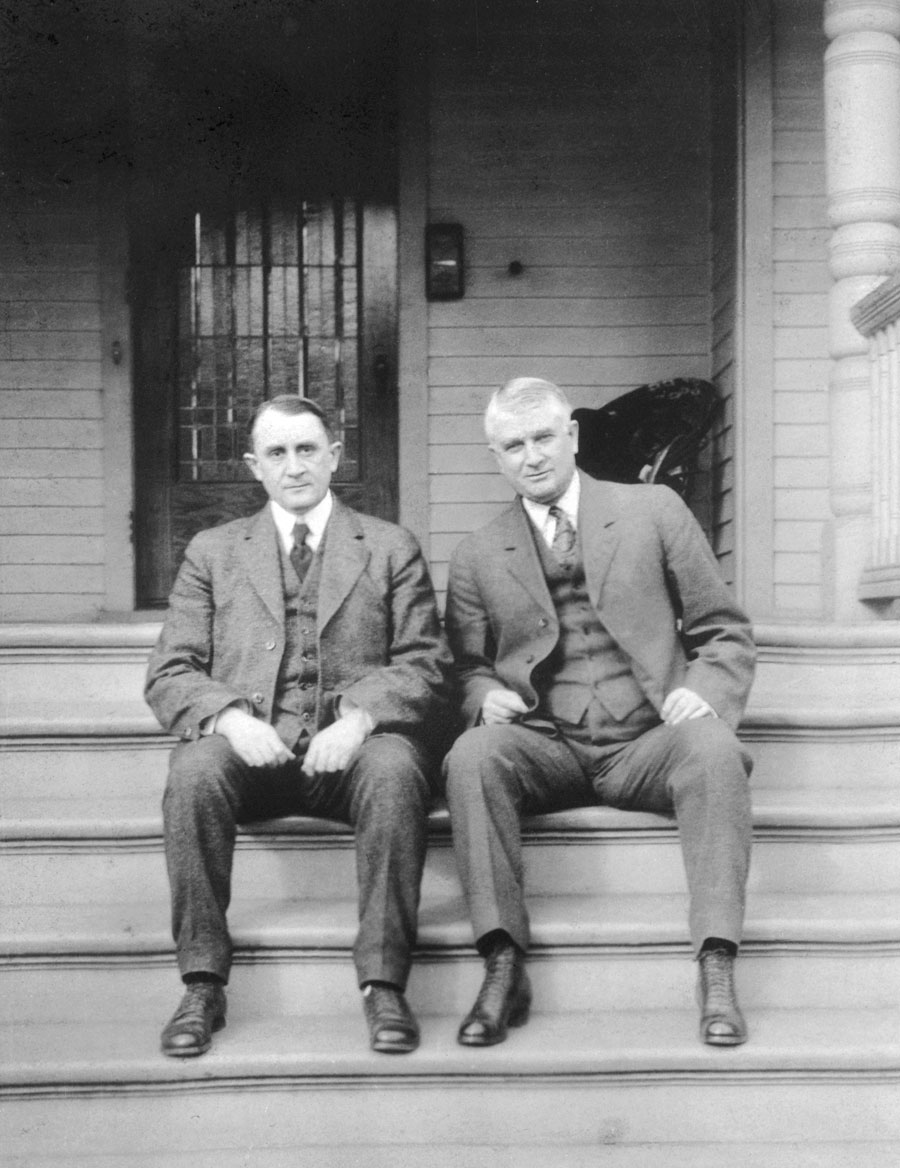 Physicians Charlie (left) and Will Mayo on the front steps of Will's Rochester home (Charlie lived next door), circa 1915.