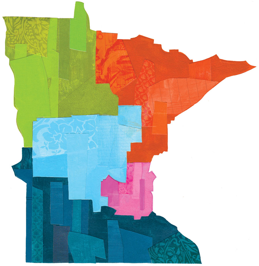 An illustration of the state of Minnesota whose different regions are a different color.