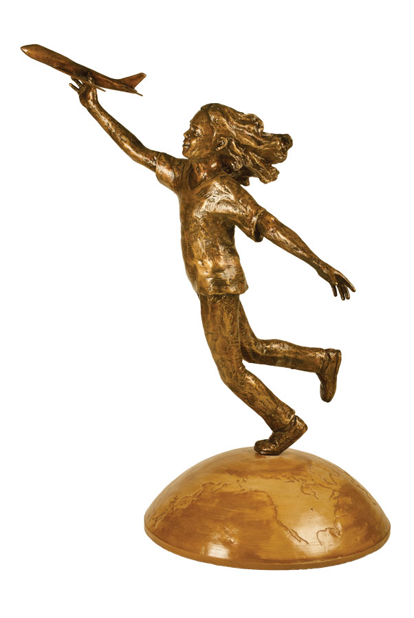 Nick Legeros's bronze of a girl playing with a model airplane.