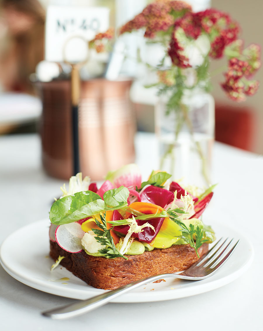Brioche with avocado and vegetables at The Lynhall.