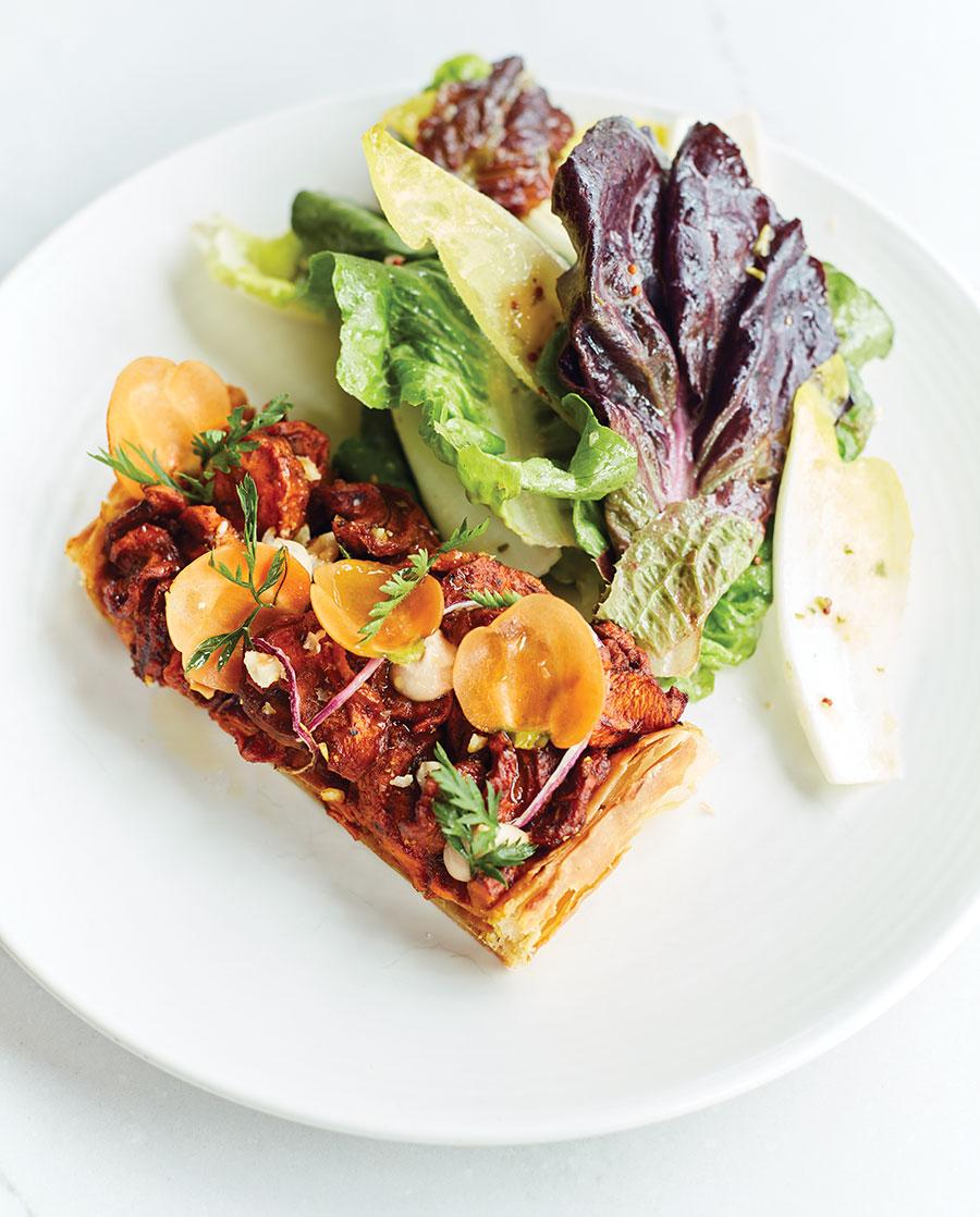 Molasses-roasted carrots savory tart at The Lynhall.