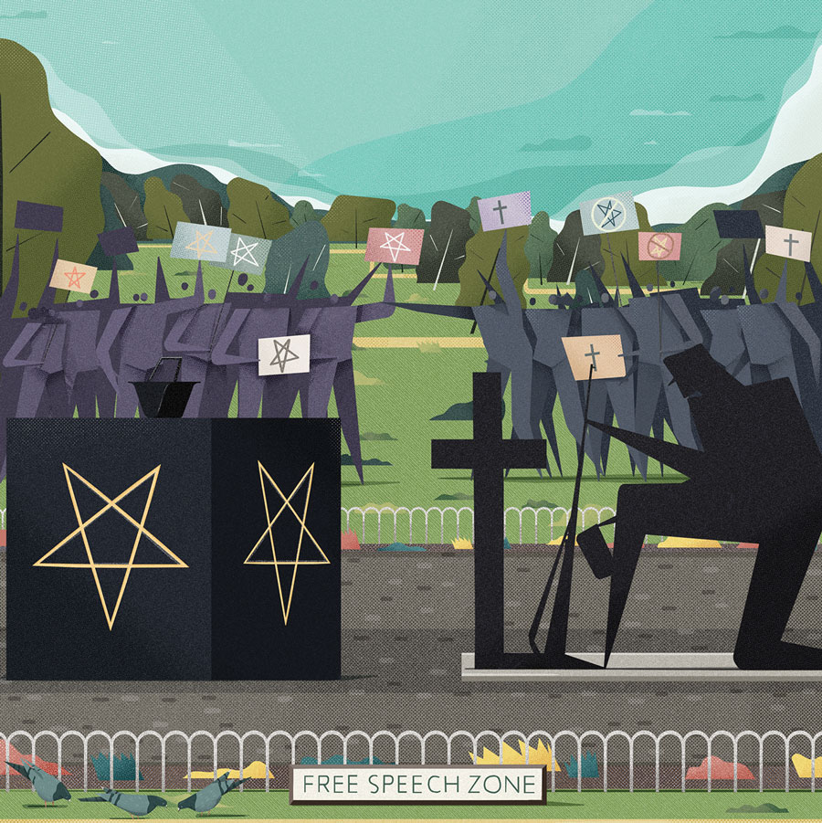 An illustration of people holding religious signs and protesting a satanic monument in a park.