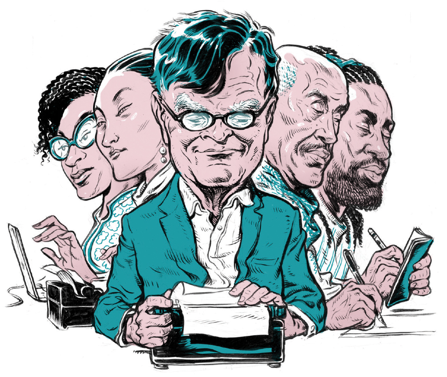 An illustration of Garrison Keillor and a group of journalists typing and writing in notepads.