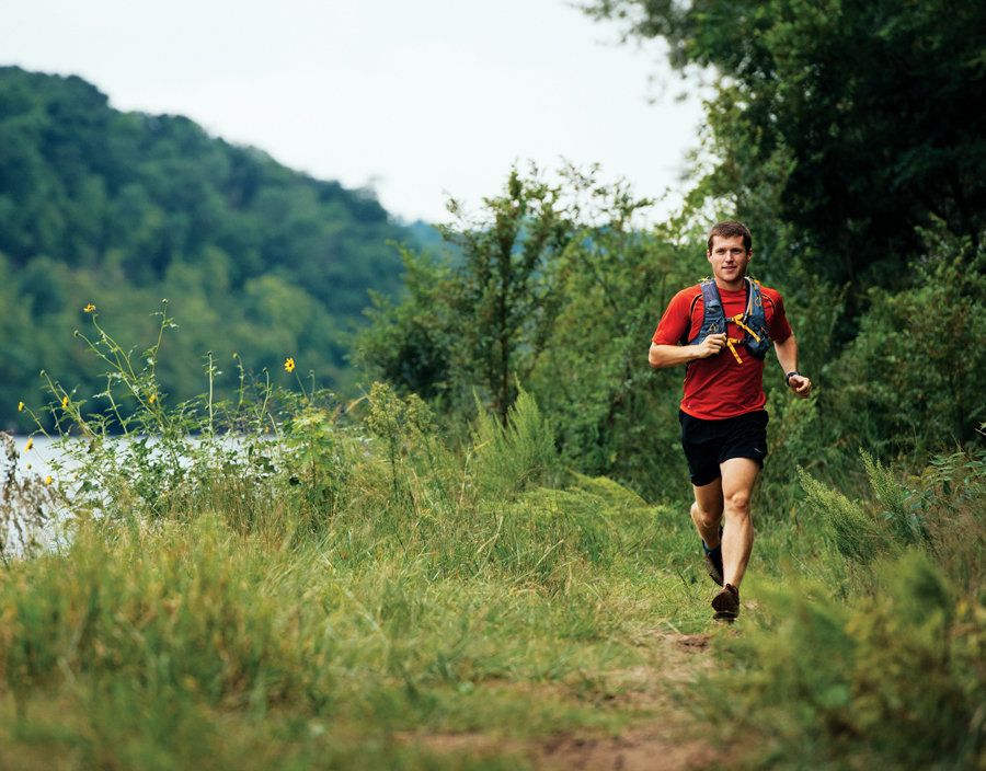 Jake Hegge runs the Winchell Trail along the Mississippi River  in Minneapolis.