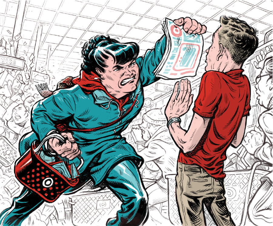 An illustration of an angry woman shopper shoving an ad in a frazzled employee's face demanding to know where the item on the page is.