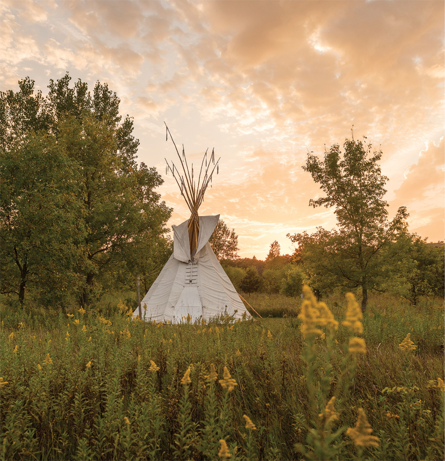 A tipi for campers in the woods at Upper Sioux Agency State Park near Granite Falls.