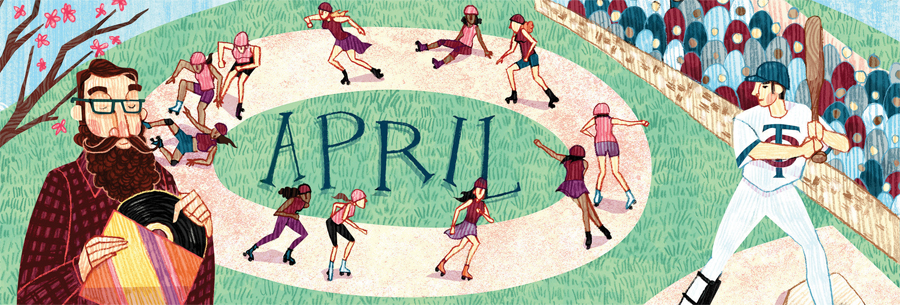 An illustration of roller derby girls and a Minnesota Twins player at the plate.