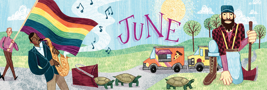 An illustration of a person holding a rainbow flag with turtles crossing a street and food trucks in the background.