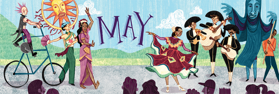An illustration of people celebrating Cinco de Mayo with dancing.