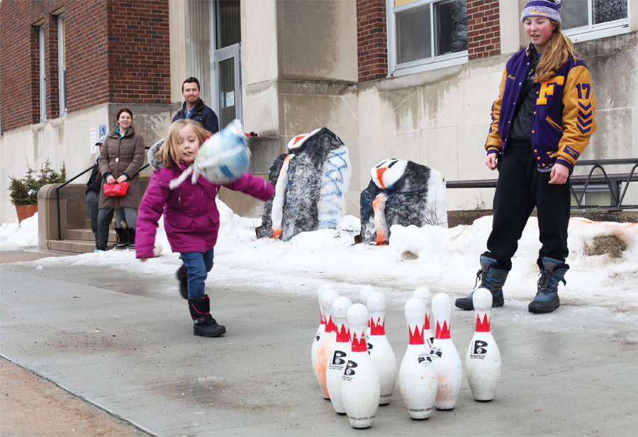 Turkey bowling at International Falls' Ice Box Days.