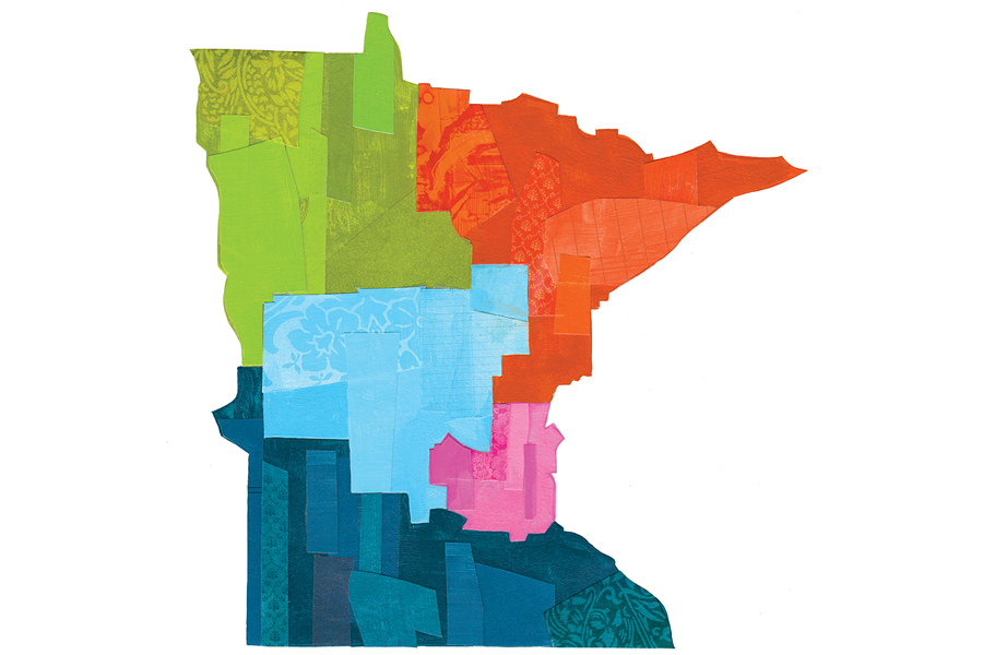 An illustration of Minnesota with each region defined by a different color.