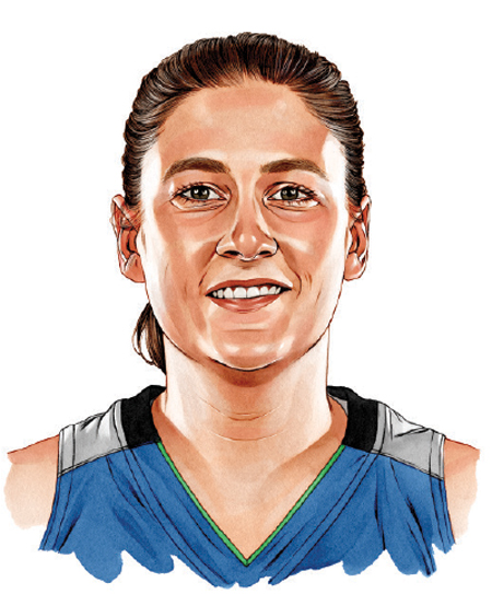 An illustrated portrait of Lindsay Whalen.