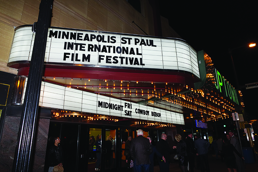 A marquee at the Uptown Theater showing the Minneapolis-St. Paul International Film Festival.
