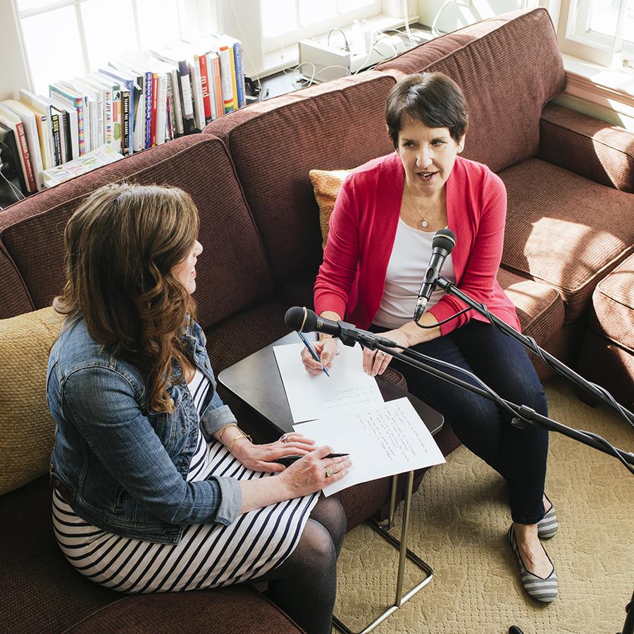 """Dr. Marti Erickson and her daughter Dr. Erin Erickson recording their """"Mom Enough"""" podcast"""