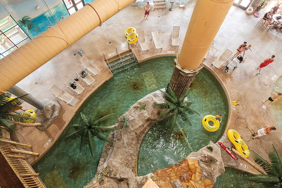 The lazy river inside Arrowwood Resort in Alexandria, Minnesota.