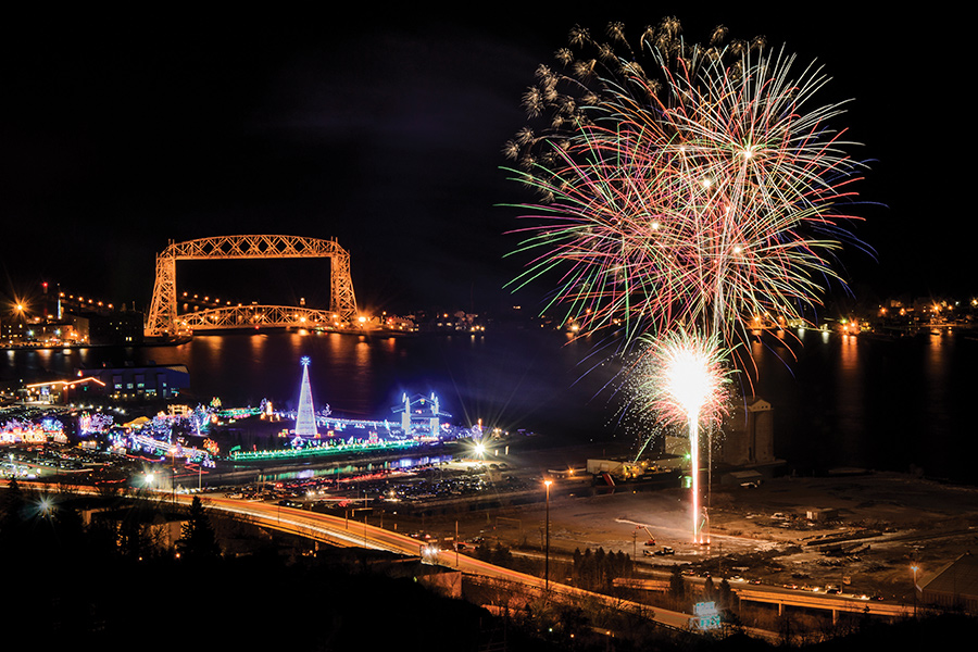 The fireworks show at Bentleyville in Duluth, Minnesota.