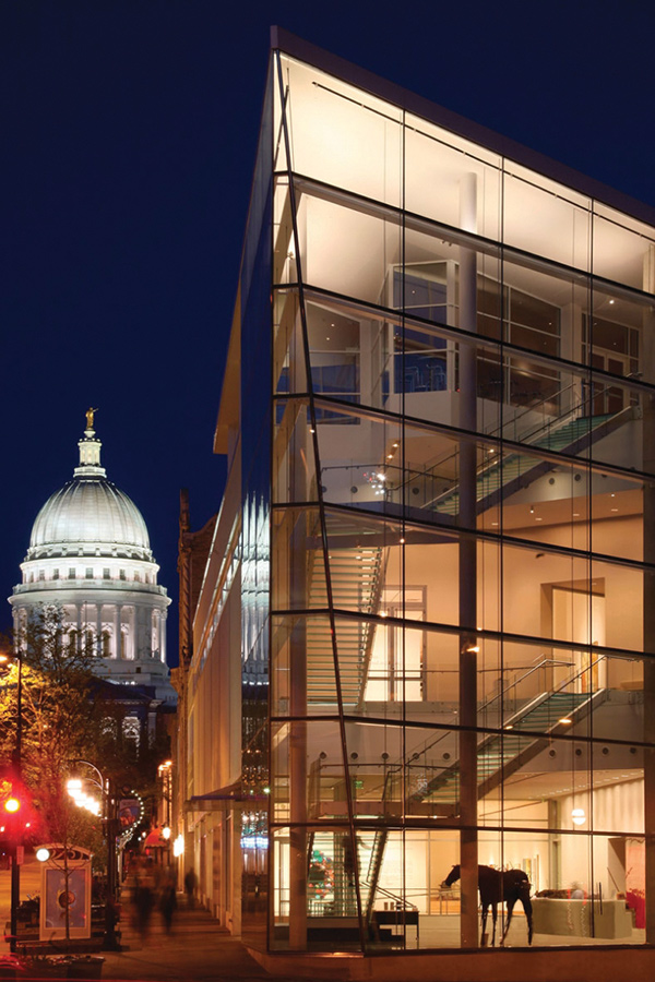 The Madison Museum of Contemporary Art at night.