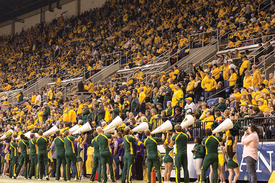 A stadium full of people at an NDSU Bison rally.