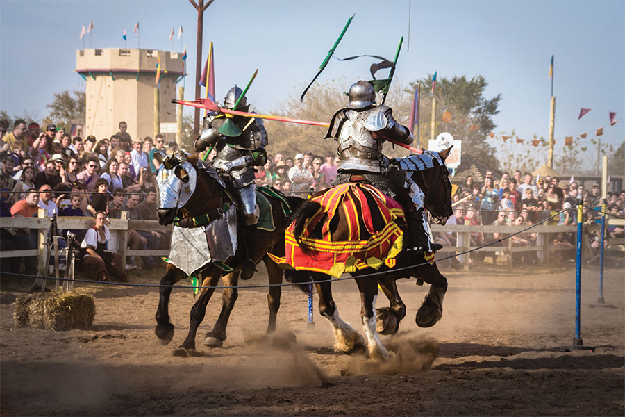 Two knights jousting at the Renaissance Festival in Shakopee, Minnesota.