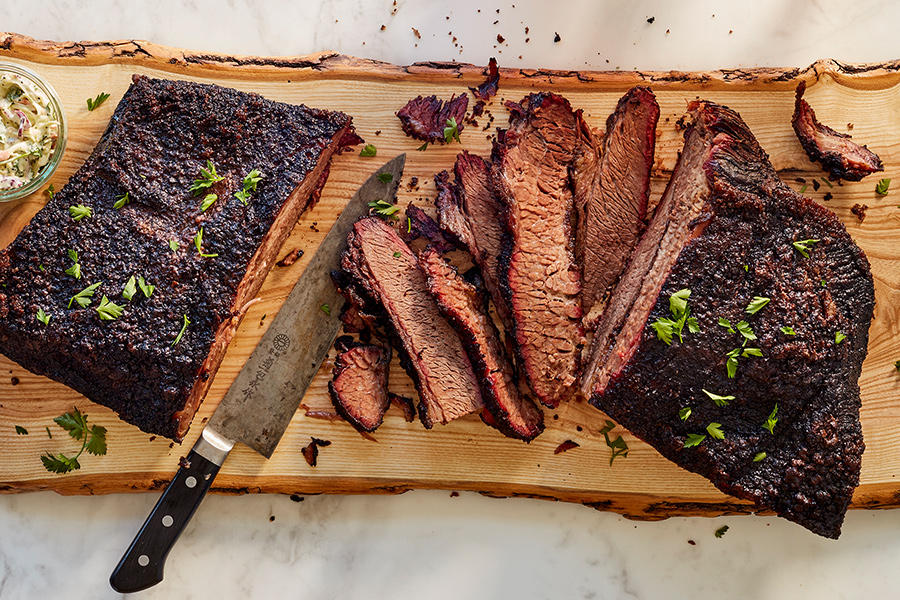 Surly's brisket on a cutting board.
