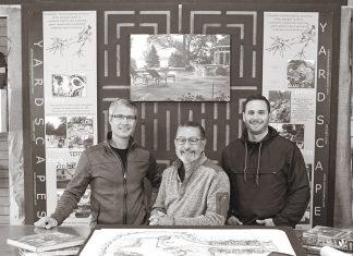 Photo of Clayton Johnson, designer; David Kopfmann, president and designer; Lincoln Danforth, designer; of Yardscapes
