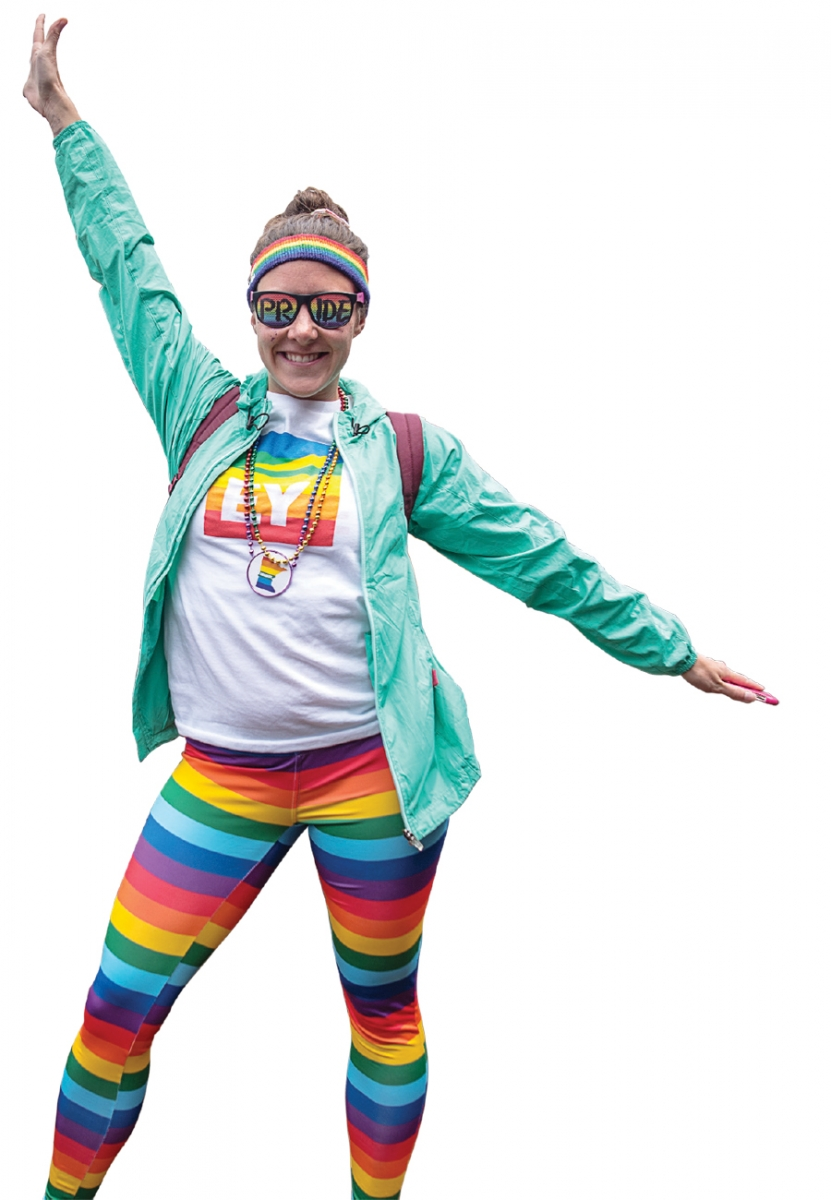 A person in rainbow clothing at Twin Cities Pride.