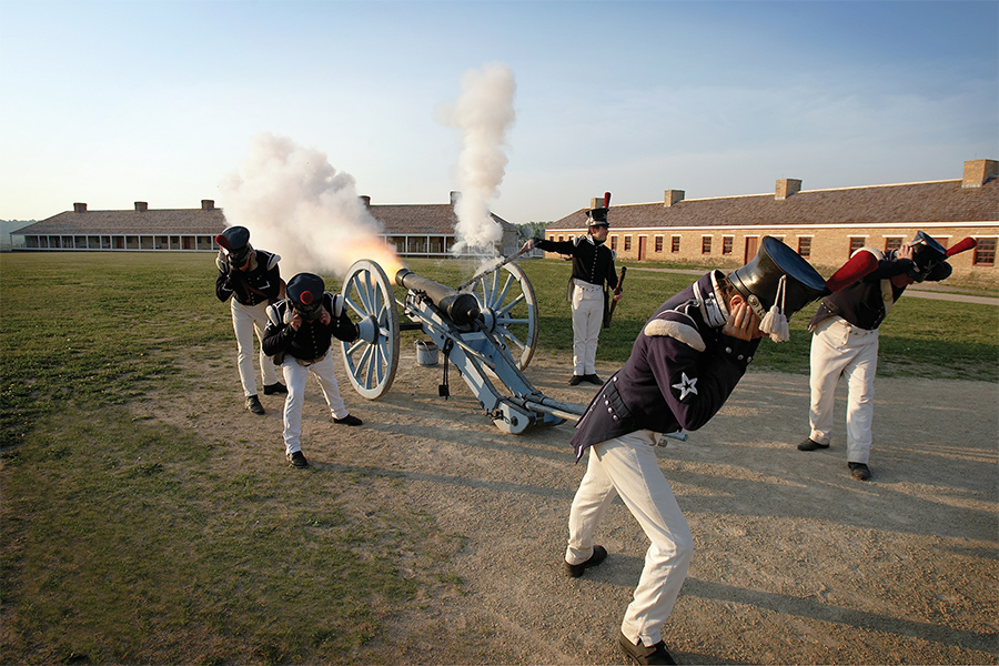 A cannon being shot at Fort Snelling in St. Paul, Minnesota.