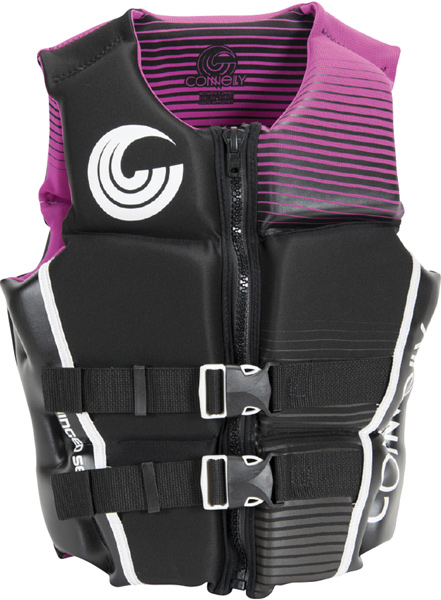 A purple and black water skiing vest.