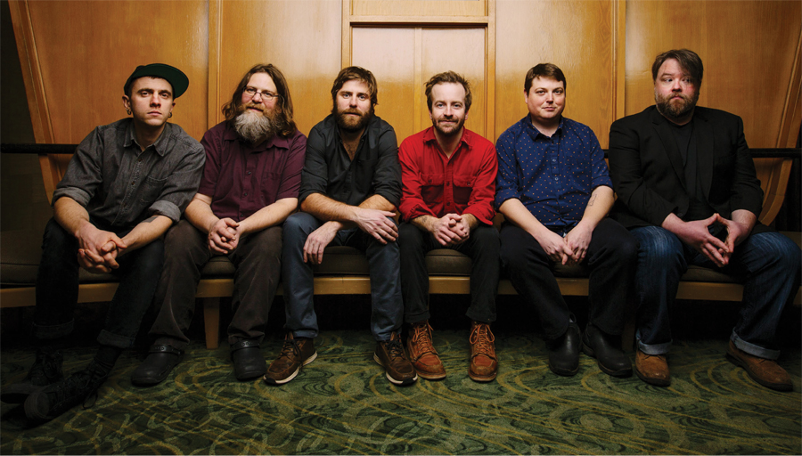 Trampled by Turtles. From left: Eamonn McLain, Erik Berry, Dave Carroll, Dave Simonett, Tim Saxhaug, and Ryan Young.