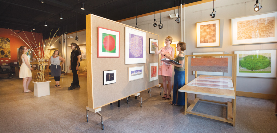 People looking at art at Kaddatz Galleries in Fergus Falls, Minnesota