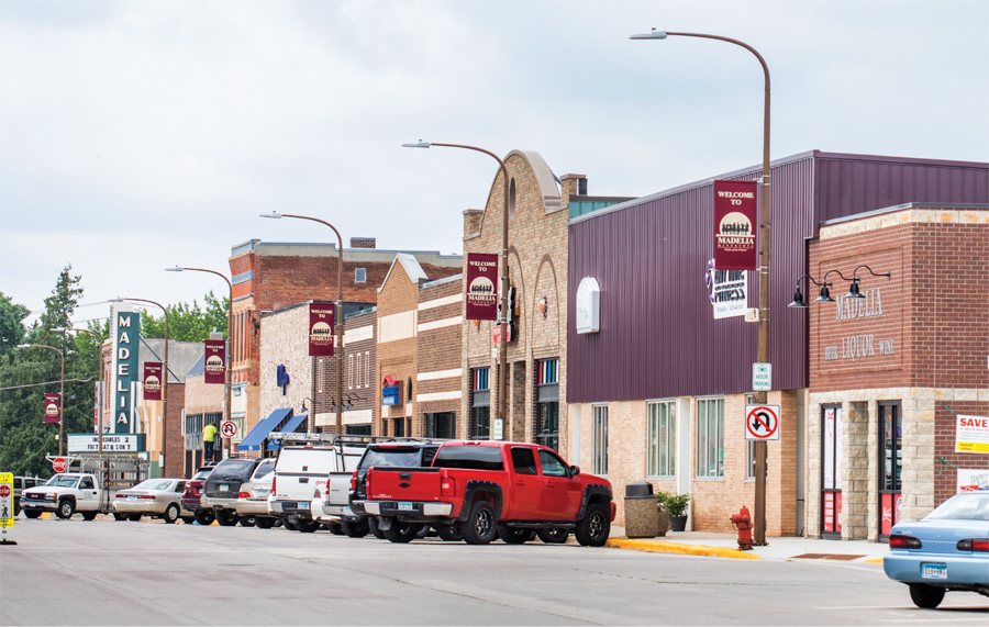 Downtown Madelia in the summer of 2018.