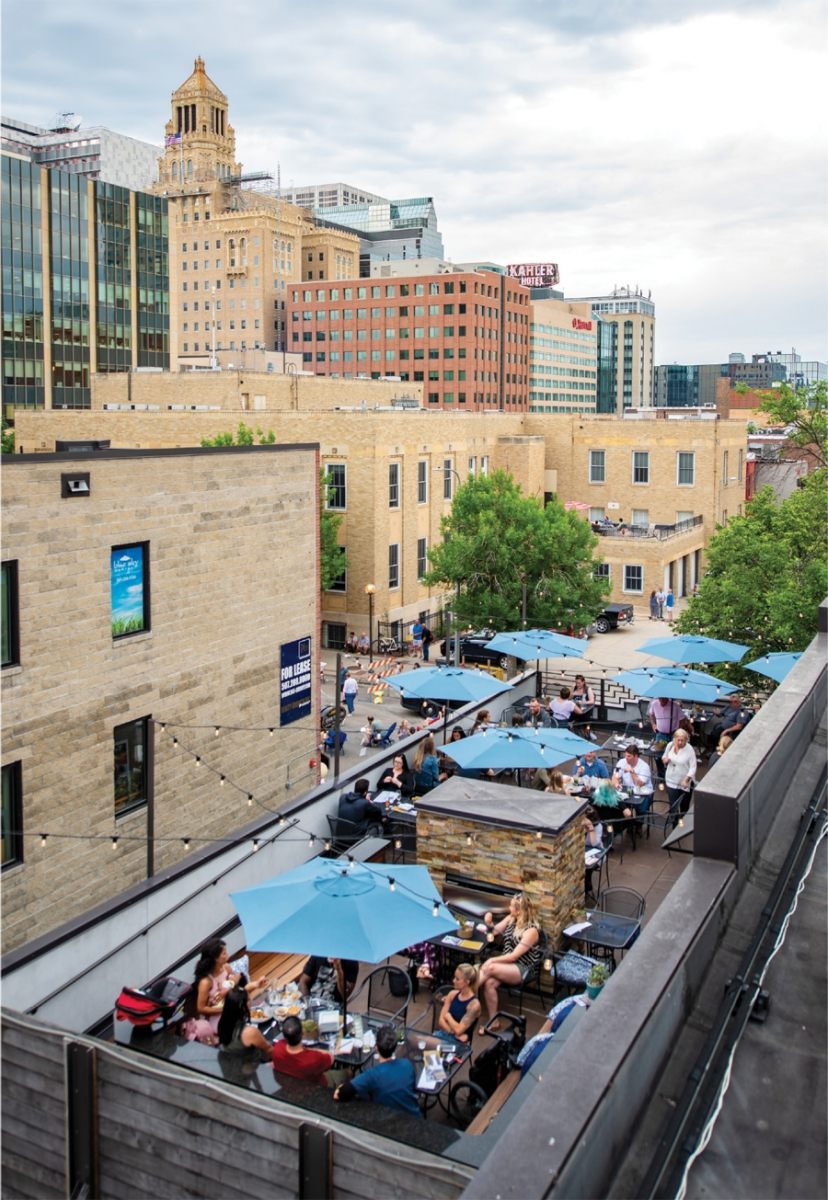 The rooftop patio of the Tap House in Rochester, Minnesota.