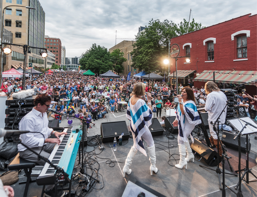 A concert being performed at Themed Thursdays in Rochester, Minnesota.