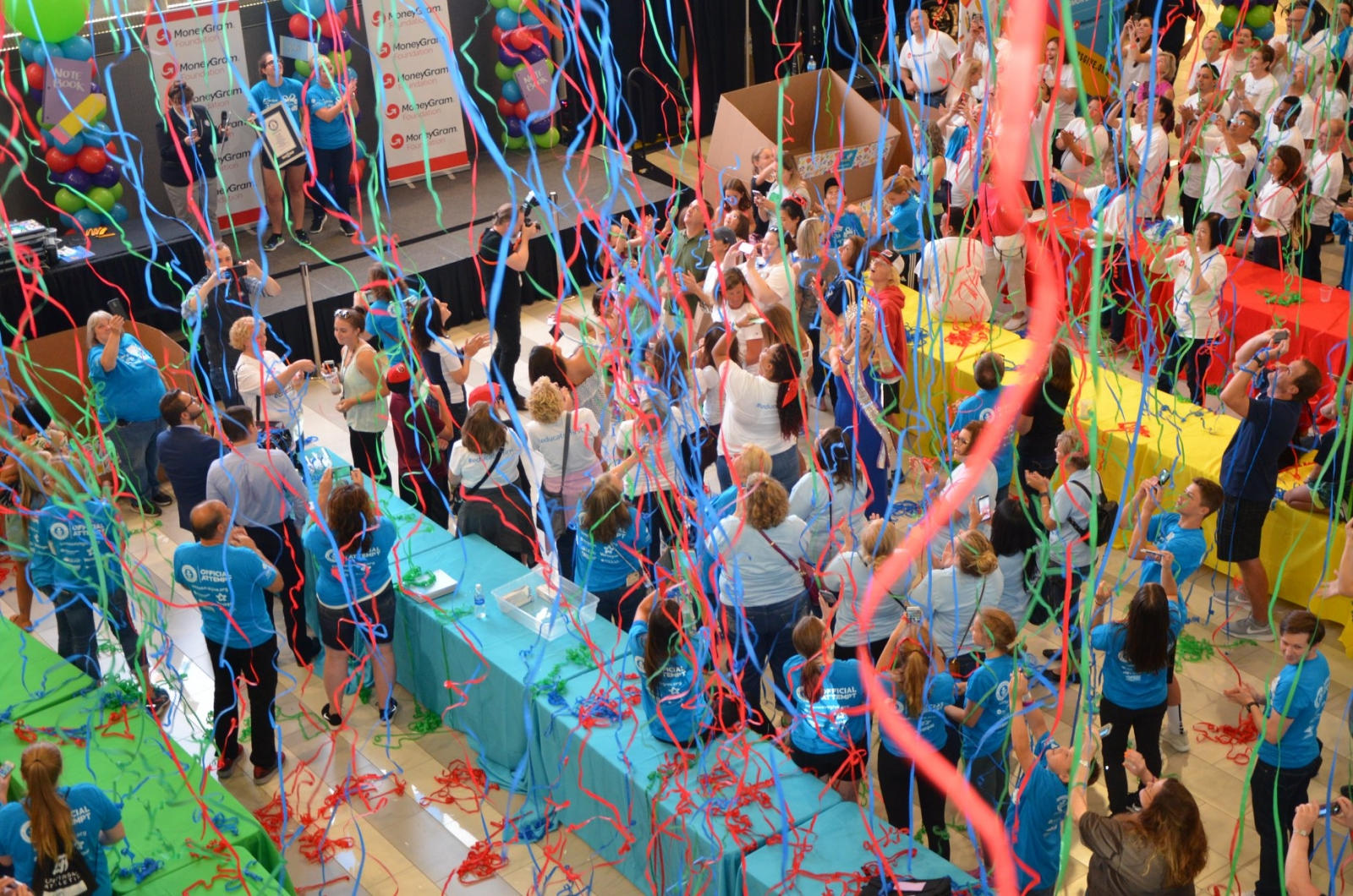 Confetti comes down as Simon Says Give's world record becomes official. Photo courtesy Mike Madison and Renee Maiz.