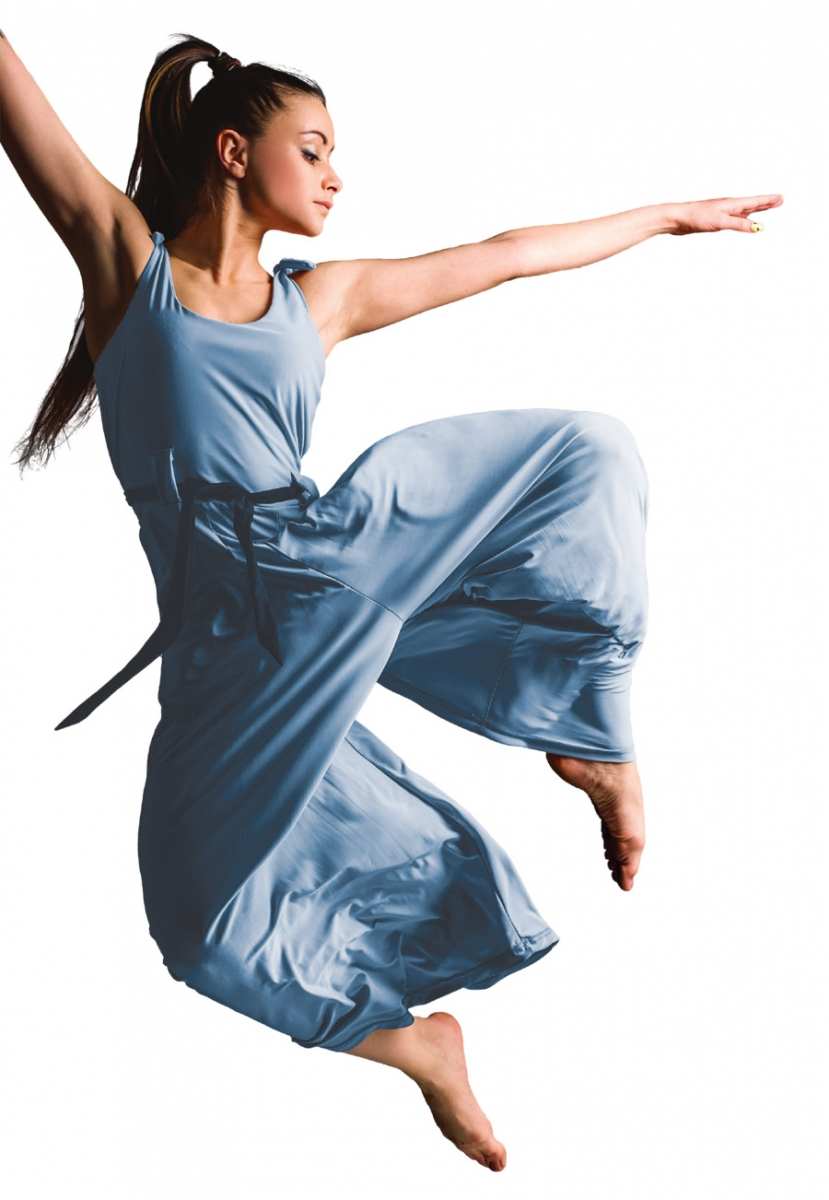 A girl in a blue dance outfit jumping into the air.