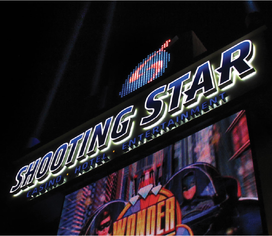 The entrance to Shooting Star Casino.